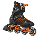 Orange and black roller skate