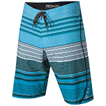 Striped blue and white board shorts