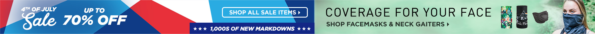 Sitewide Markdowns! July 4th Savings + Facemasks and Neck Gaiters
